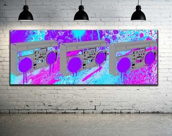 Boombox Artwork / Graffiti Art Canvas / Street Art Canvas