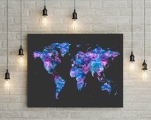 Map home decor - World map print print - world map poster - minimalist print - contemporary art  - office art - map decor - travel poster