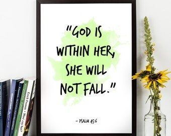 God is within Her, she (...), Psalm 46:5, Bible Verse Watercolor Art, Baby Shower Bible Art, Inspirational quote, Kids Room Bible Verse.