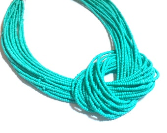 Teal Multi-Strand Knotted Necklace