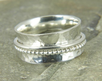 Spinner ring, Sterling silver Beaded ring - hammered spinning ring, wide band ring, meditation ring
