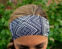 BUY 2 & get 1 FREE!!! Yoga Headbands, Black Aztec, Fitness Headband, Workout Headband, Non Slip Headbands, Wide Headband, Boho,