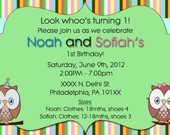 Twins Owl Theme Invite Invitation (Boy/Girl) , Digital or Printed
