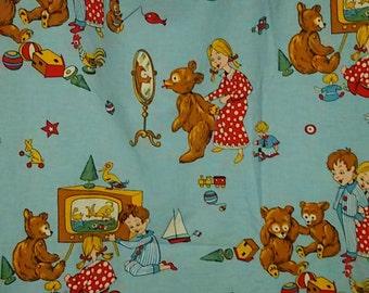 Vintage 60's curtain child motif Cubs / Vintage bear-cub curtain