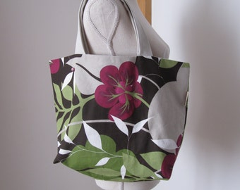 Handmade Shopper, Shopper bag, Market bag, handmade shopper tote,up cycled shopping bag, home storage, retro fabrics, flower design