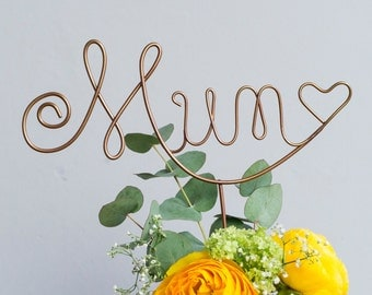 Mum Cake Topper , Bouquet Flower Decoration, Gift for Mum, Mum Wire Cake Topper, Mother's Day Gift, Wire Art, Mum Birthday Gift, cake topper