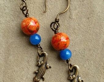 Blue & Orange Alligator Charm Earrings