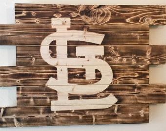 St Louis Cardnials baseball wood sign charred burnt