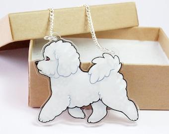 Bichon Frise Acrylic Dog Necklace