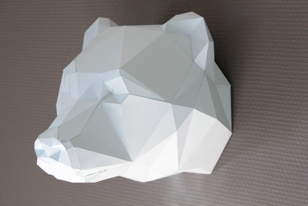 Paper Trophy Faux Taxidermy Bear Polar Bear Paper Diy Kit