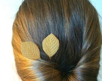 Soldered Gold Birch Leaf Hair Pins Leaf Bobby Pins Bridal Hair Pins Hair Accessory Leaf Hair Clips Wedding Bridal Hair Pins Gold Asp