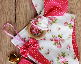 New baby girl gift set, Bandana bib girl, Pacifier clip girl, Bunny ear teether, Baby girl Christmas gift, First baby gifts, Teething bib