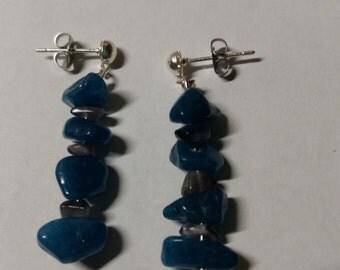 Blue and grey rock bead earrings