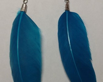 Small blue feather earring