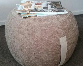 ottoman pouf, straw color pouf, round pouf, beanbag pouf, bean bag ottoman, nuetral velvet floor cushion, ottoman pouf, pale gold pouffe