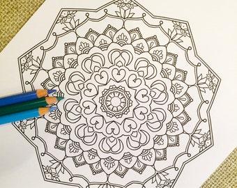 "Mandala ""Taj"" - Hand Drawn Adult Coloring Page Print"