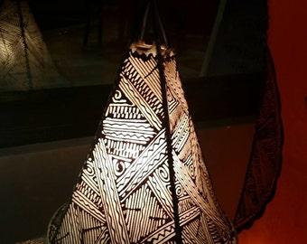 """14"""" Natural / Henna Moroccan Goat Skin / Henna Lamp."""