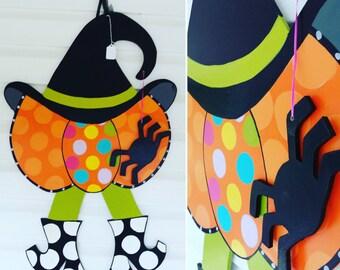 Pumpkin Door Hanger, Halloween Door Hanger, Pumpkin Door Decor, Witch Door Hanger, Pumpkin Witch