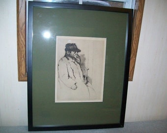 William Auerbach Levy Original Etching 1920s THE TRAVELER signed by artist