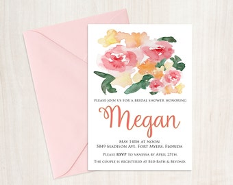 Printable Bridal Shower Invitation, bridal shower, bridal shower invite, coral bridal shower invite, customized shower invite