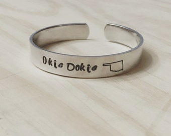 Home Sweet Homa / Okie Dokie Oklahoma pride hand stamped cuff bracelet, oklahoma jewelry, okie jewelry, oklahoma gift