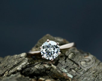 Amy Certified 7mm/1.25 Carats Round Cut Forever One G-H Color Moissanite 14K Rose Gold Solitaire Engagement Ring