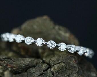 0.27 Carats Diamond 14k White Gold Half Diamond Eternity Matching Band Bridal Ring Diamond Wedding Ring Anniversary Ring