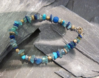 Turquoises Bracelet by Stephane de Blaye, Turquoises nuggets, Lapis Lazuli.