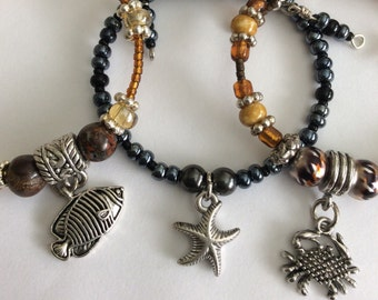 Beach Theme Charm Bracelet, Charm Bracelet, Fish Charm, turtle Bracelet, Sandal Charm, Nautical theme charms, stretchy bracelets, Charms