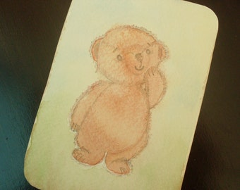 """FREE SHIPPING! Figure """"Teddy Bear"""" is made by hand in a single copy, Pencil and watercolor."""