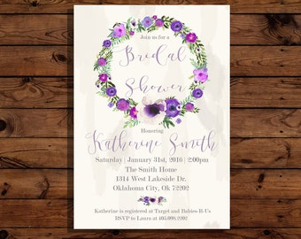 Violet Floral Bridal Shower Invitation