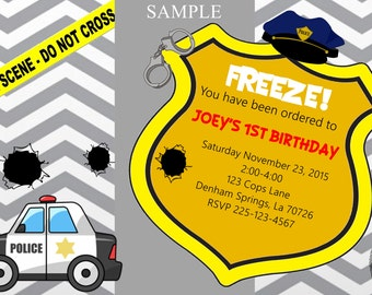 Cops and Robbers birthday invitation