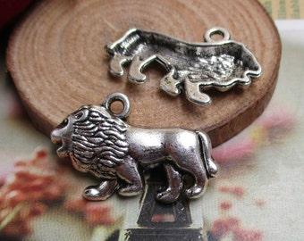10Pcs 18*27mm Lion Charms Antique Silver Tone-p1317