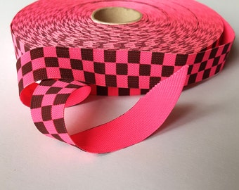 2 yard 1 inch elastic band, pink and black checkered flag band, elastic tape, stretchy skirt waistband, kids clothing, sewing accessories