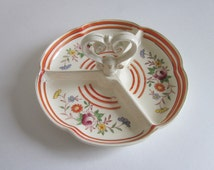 Decorative Floral Divided Dish, Decorative Handled Dish, Ceramic Divided Dish, Vintage Divided Dish, Candy Dish,
