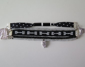 Black and white Cuff Bracelet