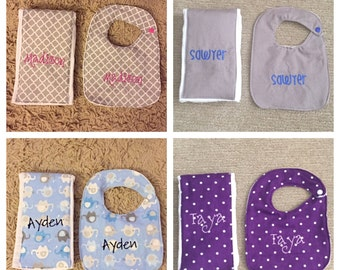 Baby Bib & Burp Cloth Set