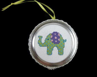 Cross Stitch Elephant Ornament