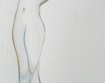 sky blue tree original watercolor painting nude woman body only