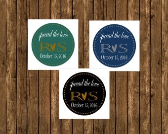 Spread the Love Stickers, Jar Labels, Party Favors, Wedding Favors, Round Sticker Labels