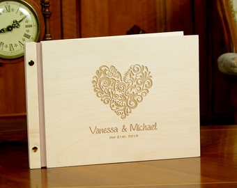 Unique Personalized Wooden Wedding Guest Book, Flower, Custom Guestbook