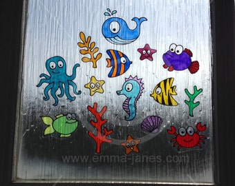 Sea Ocean Underwater theme window clings hand painted, reusable decals, faux stained glass effect, seahorse, octopus, whale, star fish decal