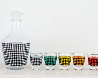 Vintage 1960s FRENCH DECANTER SET Gingham Check   petite decanter set   5 shot glasses   black and white, red, green, yellow, orange.