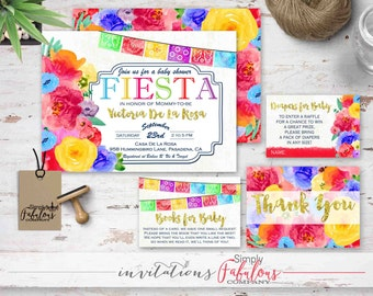 Baby Fiesta - Gold Typography, Watercolor Floral, Papel Picado Invitation Bundle, Diaper Raffle, Books for Baby, Thank You Card DIGITAL FILE