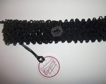 Black headband with black ribbon