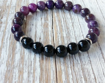 Lepidolite & AA Black Tourmaline Bracelet, Healing Crystals + Stones, Yoga Bracelet, Protection + Emotional Balance + Stress Anxiety Relief