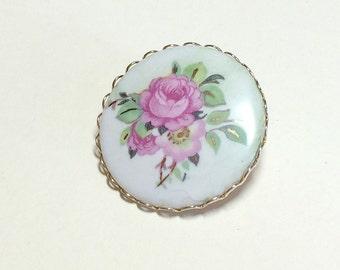 Precious vintage pink rose brooch or pin, flower brooch, flower pin, rose pin, pink rose, porcelain rose brooch, friendship brooch, 1960s