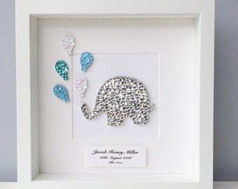 New baby elephant, new baby gift, elephant frame, christening gift, baby boy gift, nursery art, personalised baby gift, nursery decor