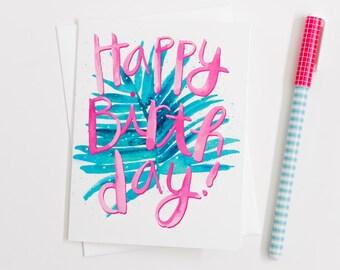 Tropical, Birthday, Pink, Teal, Greeting Card, Happy Birthday Card, Tropical Theme Birthday Card, Hawaiian Birthday Card, Luau, Card, Girly