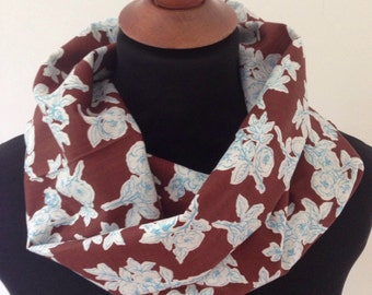 Floral Brown Teal Infinity Scarf / Single Double Loop Snood / Cotton Summer Lightweight